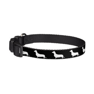 Dachshund White Silhouettes on Black Pet Collar