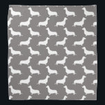"""Dachshund White Silhouettes on Dove Grey Bandana<br><div class=""""desc"""">Dachshund White Silhouettes on Dove Grey  White outlined silhouettes on Dove Grey background of the short-legged Dachshund,  beloved by its owners for its feisty and clever temperament. Bred to ferret out badgers and other ground burrowers,  the tiny dog is not short on personality.</div>"""