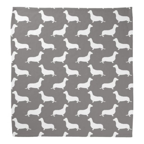 Dachshund White Silhouettes on Dove Grey Bandana