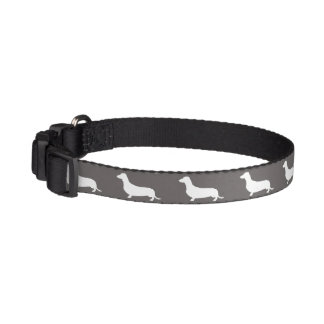 Dachshund White Silhouettes on Dove Grey Pet Collar