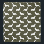 """Dachshund White Silhouettes on Moss Green Bandana<br><div class=""""desc"""">Dachshund White Silhouettes on Moss Green White outlined silhouettes on Moss Green background of the short-legged Dachshund,  beloved by its owners for its feisty and clever temperament. Bred to ferret out badgers and other ground burrowers,  the tiny dog is not short on personality.</div>"""