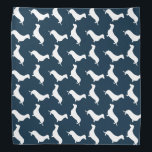 """Dachshund White Silhouettes on Navy Blue Bandana<br><div class=""""desc"""">Dachshund White Silhouettes on Navy Blue White outlined silhouettes on Navy Blue background of the short-legged Dachshund,  beloved by its owners for its feisty and clever temperament. Bred to ferret out badgers and other ground burrowers,  the tiny dog is not short on personality.</div>"""