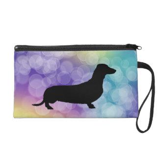 Dachshund, Wiener Dog, Colorful Bokeh Wristlet