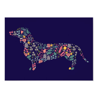 Dachshund Wiener Dog Floral Pattern Watercolor Art Card