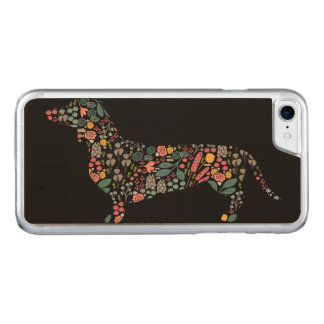 Dachshund Wiener Dog Floral Pattern Watercolor Art Carved iPhone 8/7 Case
