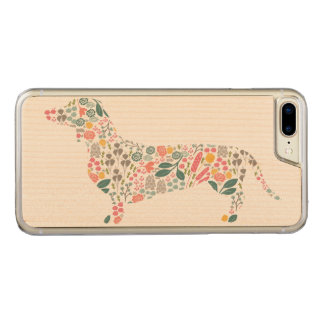 Dachshund Wiener Dog Floral Pattern Watercolor Art Carved iPhone 8 Plus/7 Plus Case
