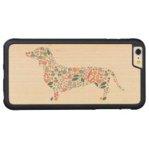Dachshund Wiener Dog Floral Pattern Watercolor Art Carved Maple iPhone 6 Plus Bumper Case