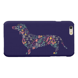 Dachshund Wiener Dog Floral Pattern Watercolor Art Glossy iPhone 6 Plus Case