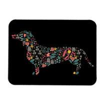 Dachshund Wiener Dog Floral Pattern Watercolor Art Magnet