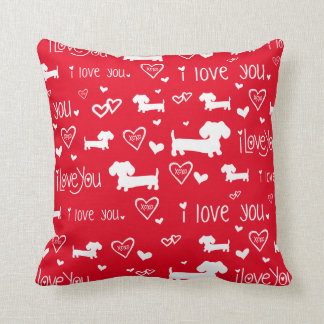 Dachshund Wiener Dog Love on Red Throw Pillow