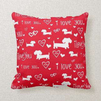 Dachshund Wiener Dog Love on Red Throw Pillow
