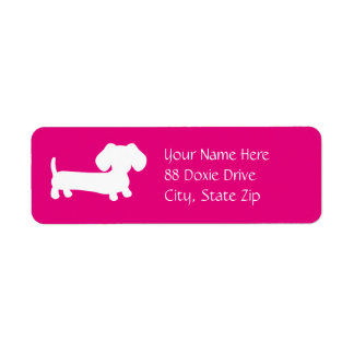 Dachshund Wiener Dog on Pink Label