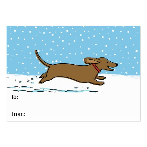Dachshund Winter Holiday Cute Gift Tags Business Card Template