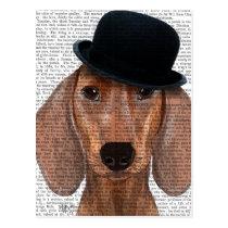 Dachshund with Black Bowler Hat Postcard