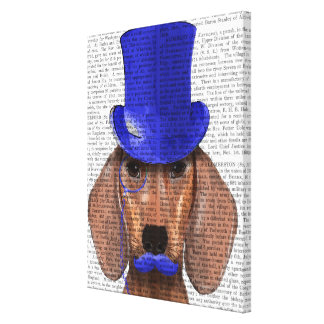 Dachshund With Blue Top Hat and Blue Moustache Canvas Print