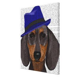 Dachshund With Blue Trilby Canvas Print