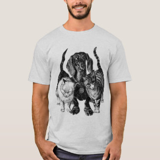 Dachshund with cats GIF T-Shirt