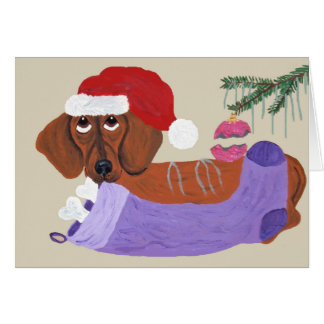 Dachshund With Christmas Stocking Card