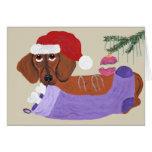 Dachshund With Christmas Stocking Greeting Card