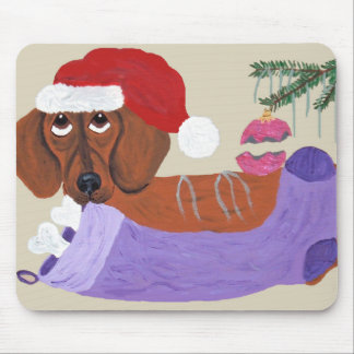 Dachshund With Christmas Stocking Mouse Pad