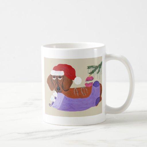 Dachshund With Christmas Stocking Mugs