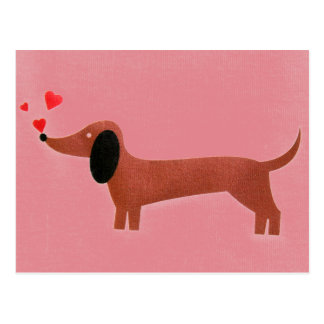 Dachshund with little red hearts postcard