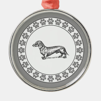 Dachshund with Pawprints Metal Ornament