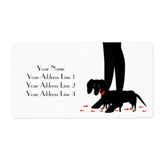 Dachshund with Red Hearts Address Labels