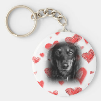 Dachshund with Red Hearts Keychain