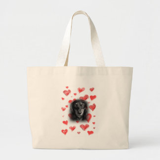 Dachshund with Red Hearts Large Tote Bag