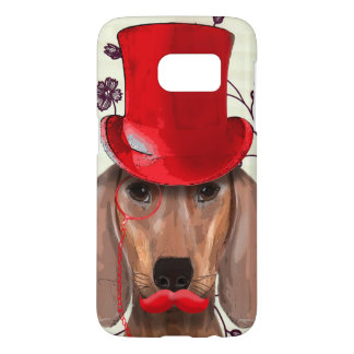 Dachshund With Red Top Hat Samsung Galaxy S7 Case