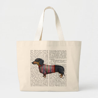 Dachshund With Woolly Sweater Large Tote Bag