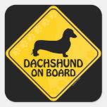 Dachshund Xing [liso] Pegatina Cuadradas Personalizada