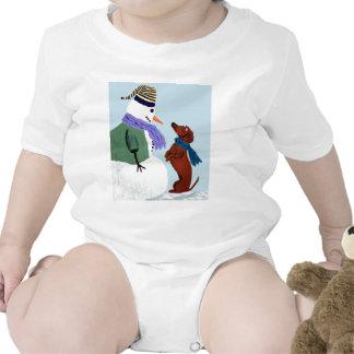 Dachshund y muñeco de nieve traje de bebé