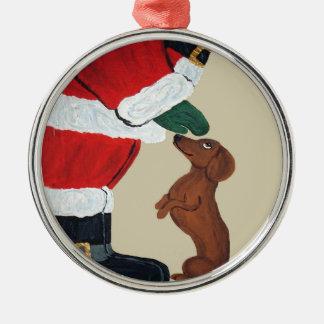 Dachshund y ornamento del navidad de Santa Adorno Redondo Plateado