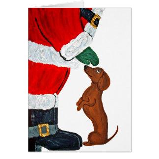 Dachshund y Santa Felicitación