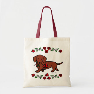 Dachshund y un dibujo animado de la flor bolsa