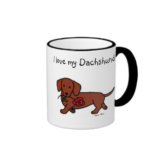 Dachshund y un dibujo animado de la flor taza