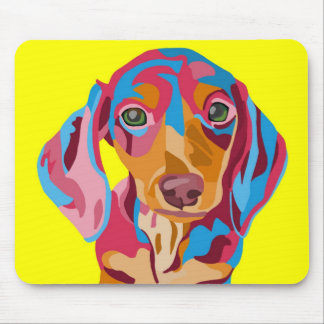 Dachshund Yellow Abstract Mouse Pad