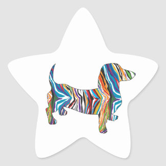 Dachshund - Zbra psicodélico Doxie Pegatina En Forma De Estrella