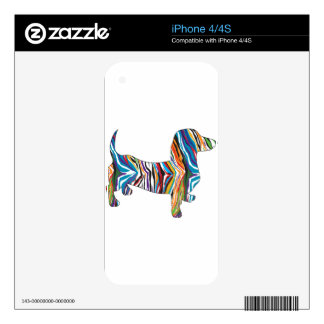 Dachshund - Zbra psicodélico Doxie Skin Para El iPhone 4