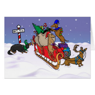 Dachshunds at the North Pole Greeting Card