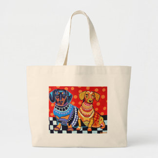 Dachshunds by Heather Galler Large Tote Bag