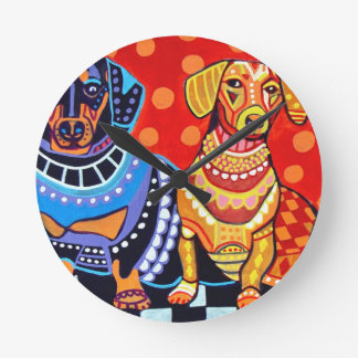 Dachshunds by Heather Galler Round Clock