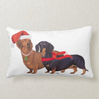 Dachshunds Christmas Lumbar Pillow