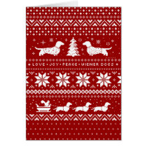 Dachshunds Christmas Sweater Pattern Red Card