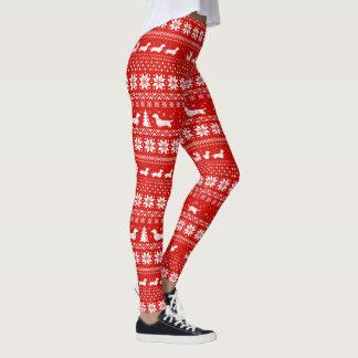 Dachshunds Christmas Sweater Pattern Red Leggings