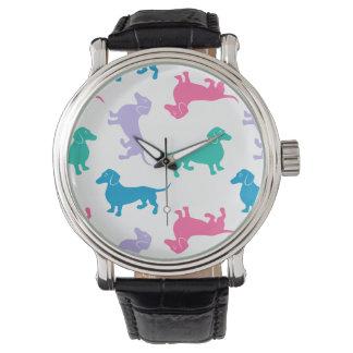 Dachshunds coloreados pastel relojes de mano