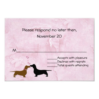 Dachshunds Custom Pink Wedding RSVP Card