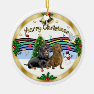 Dachshunds de la música 1 - dos de Navidad Adorno Redondo De Cerámica